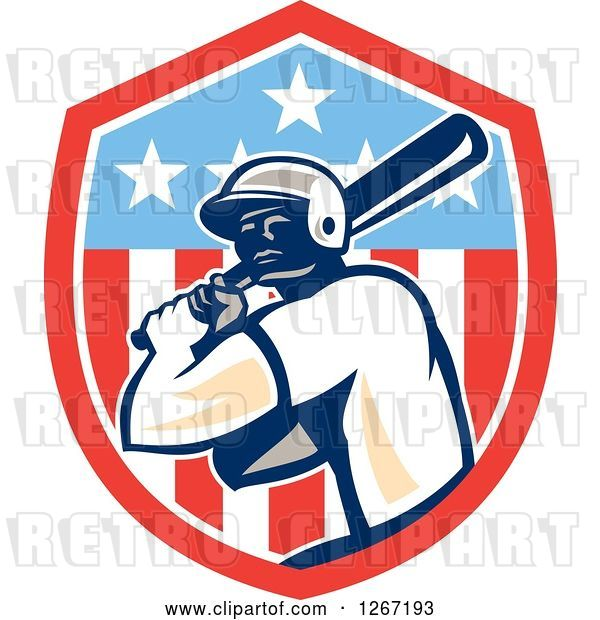 Vector Clip Art of Retro Cartoon Male Baseball Player Batting Inside an American Flag Shield
