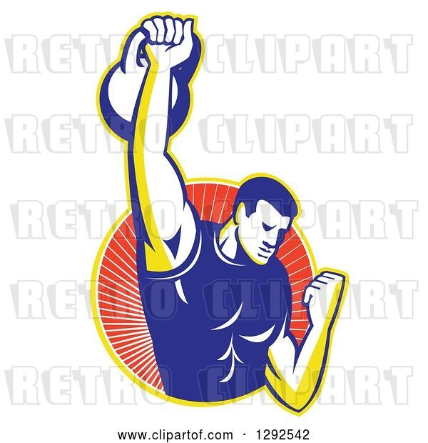 Vector Clip Art of Retro Cartoon Male Bodybuilder Lifting a Kettlebell and Emerging from a Yellow and Red Ray Circle
