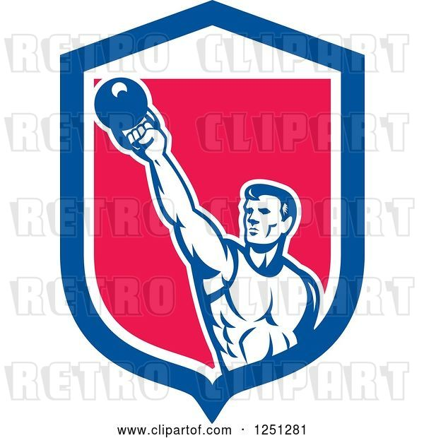 Vector Clip Art of Retro Cartoon Male Bodybuilder Working out with a Kettlebell in a Blue White and Pink Shield