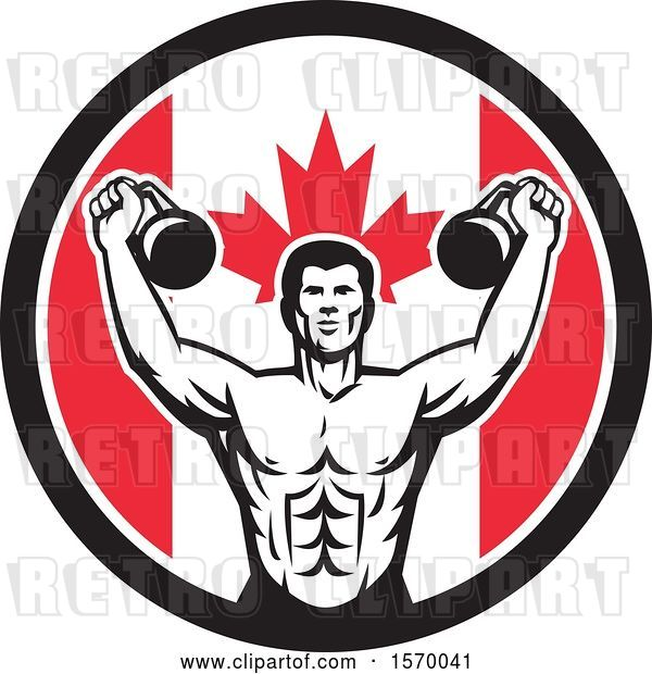 Vector Clip Art of Retro Cartoon Male Bodybuilder Working out with Kettlebells in a Canadian Flag Circle