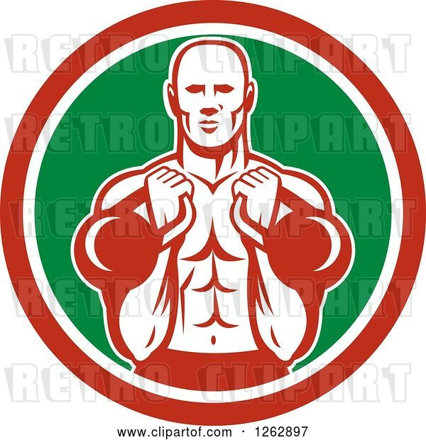 Vector Clip Art of Retro Cartoon Male Bodybuilder Working out with Kettlebells in a Red White and Green Circle