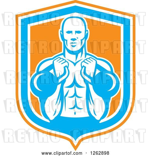 Vector Clip Art of Retro Cartoon Male Bodybuilder Working out with Kettlebells in an Orange White and Blue Shield