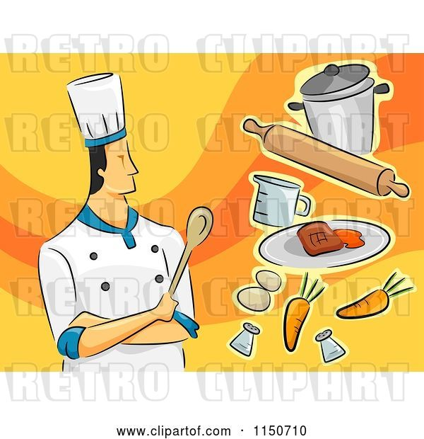 Vector Clip Art of Retro Cartoon Male Chef with Food
