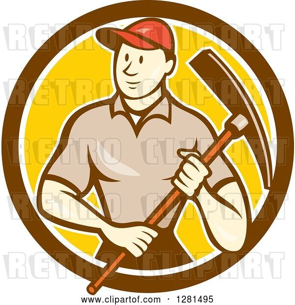Vector Clip Art of Retro Cartoon Male Construction Worker Holding a Pickaxe in a Brown White and Yellow Circle