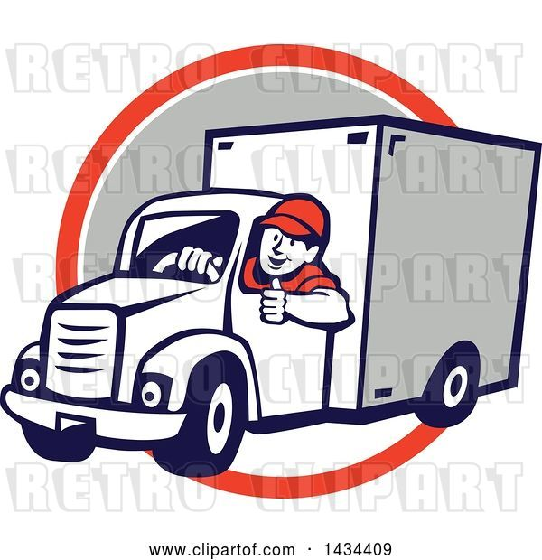 Vector Clip Art of Retro Cartoon Male Delivery Driver Giving a Thumb Up, over an Orange, White and Gray Circle
