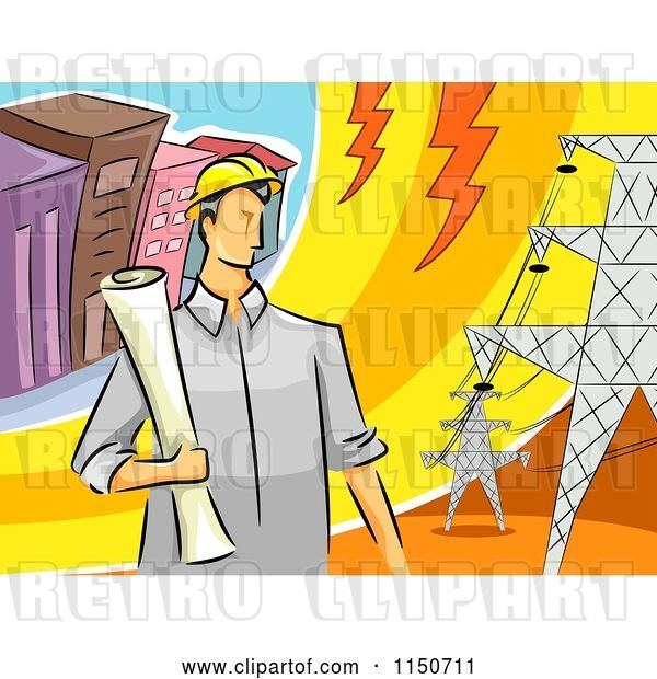Vector Clip Art of Retro Cartoon Male Electrical Engineer by Transmission Towers