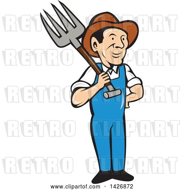Vector Clip Art of Retro Cartoon Male Farmer or Worker Holding a Pitchfork over His Shoulder
