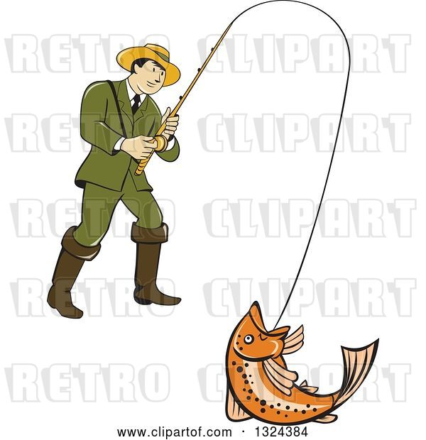 Vector Clip Art of Retro Cartoon Male Fisher Man Reeling in a Rainbow Trout