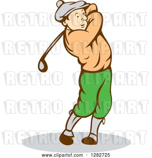 Vector Clip Art of Retro Cartoon Male Golfer Swinging a Club
