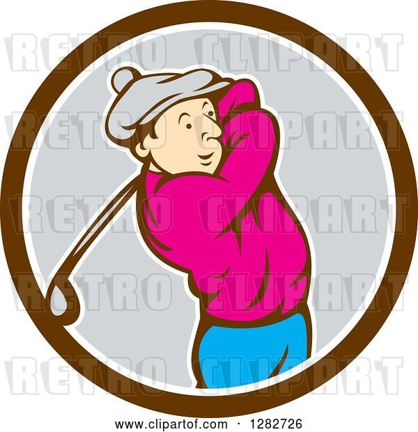 Vector Clip Art of Retro Cartoon Male Golfer Swinging a Club in a Brown White and Gray Circle