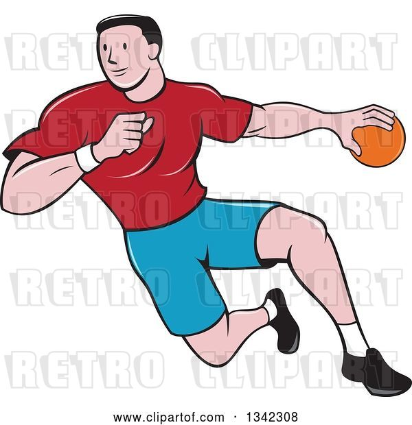 Vector Clip Art of Retro Cartoon Male Handball Player in Action