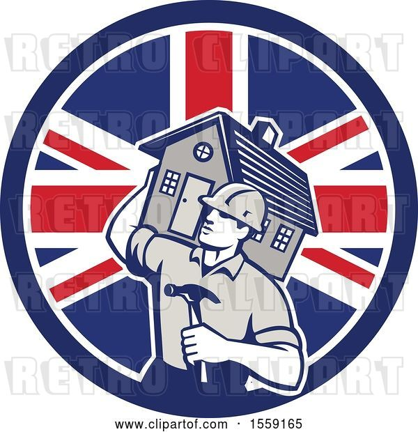 Vector Clip Art of Retro Cartoon Male Home Builder Carrying a House and Hammer in a British Flag Circle