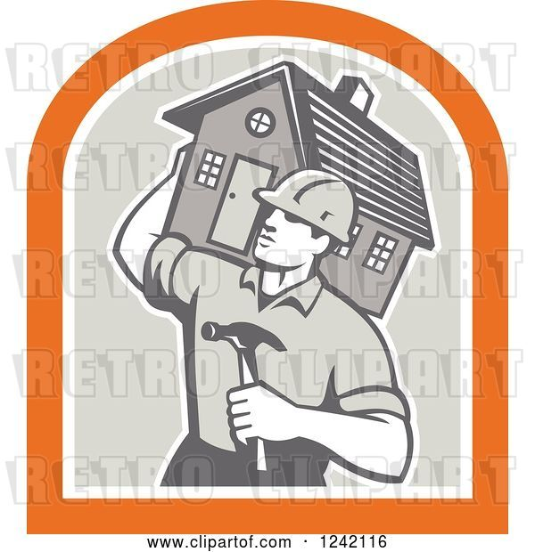 Vector Clip Art of Retro Cartoon Male Home Bulider Carrying a House and Hammer in a Crest