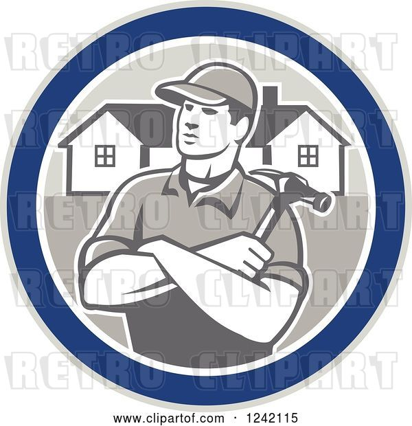 Vector Clip Art of Retro Cartoon Male Home Bulider in a Circle with Houses and a Hammer