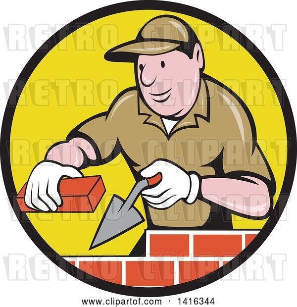 Vector Clip Art of Retro Cartoon Male Mason Worker Laying Bricks in a Black and Yellow Circle