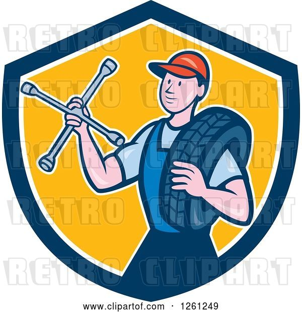 Vector Clip Art of Retro Cartoon Male Mechanic Holding a Socket Wrench and a Tire in a Blue White and Yellow Shield