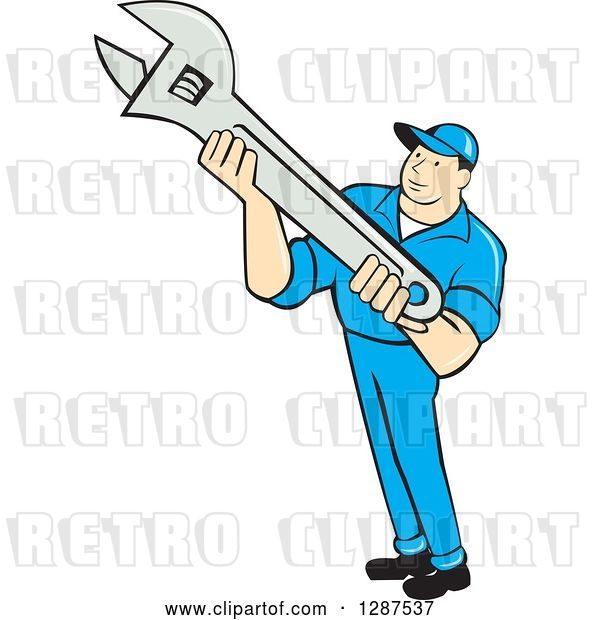Vector Clip Art of Retro Cartoon Male Mechanic Holding an Adjustable Wrench