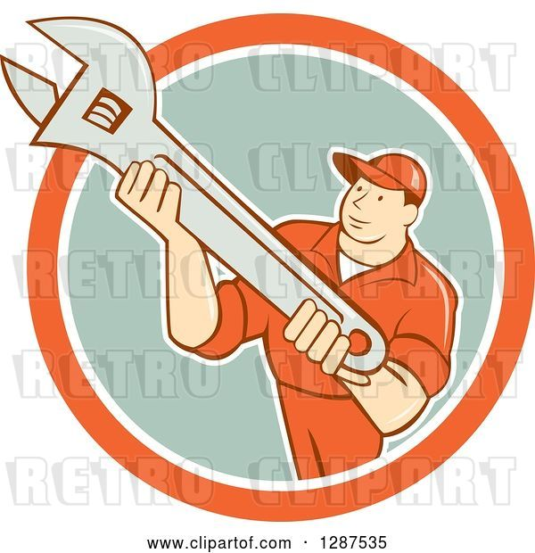 Vector Clip Art of Retro Cartoon Male Mechanic Holding an Adjustable Wrench in an Orange White and Pastel Green Circle