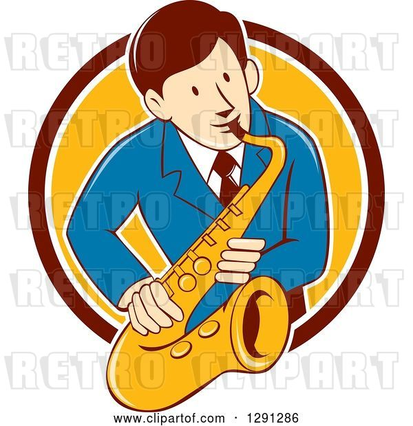Vector Clip Art of Retro Cartoon Male Musician Playing a Saxophone and Emerging from a Maroon White and Yellow Circle