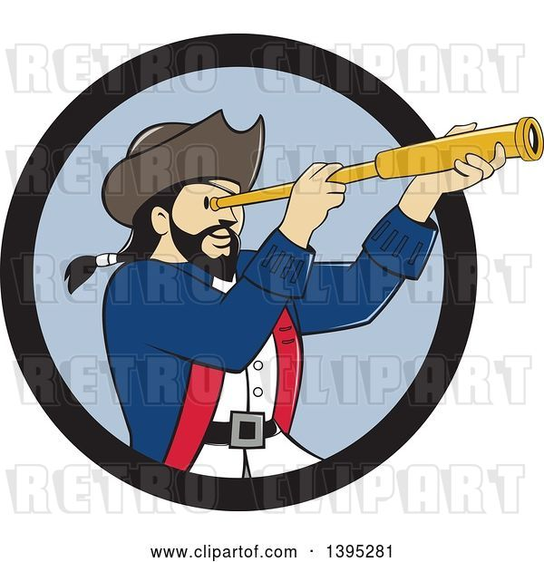 Vector Clip Art of Retro Cartoon Male Pirate Captain Viewing Through a Spyglass, Emerging from a Black and Blue Circle