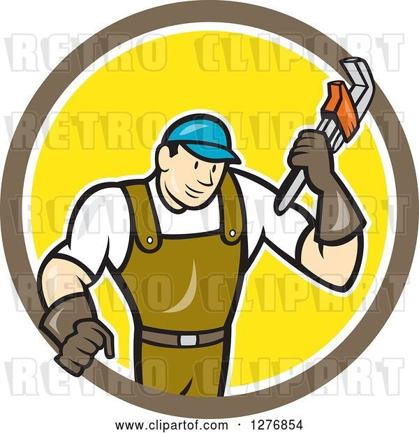 Vector Clip Art of Retro Cartoon Male Plumber Holding a Monkey Wrench in a Brown White and Yellow Circle