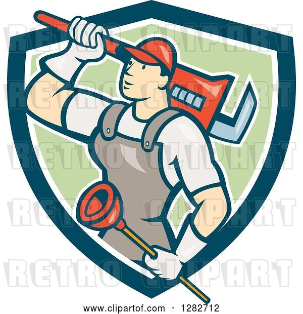 Vector Clip Art of Retro Cartoon Male Plumber with a Giant Monkey Wrench and a Plunger in a Blue White and Green Shield