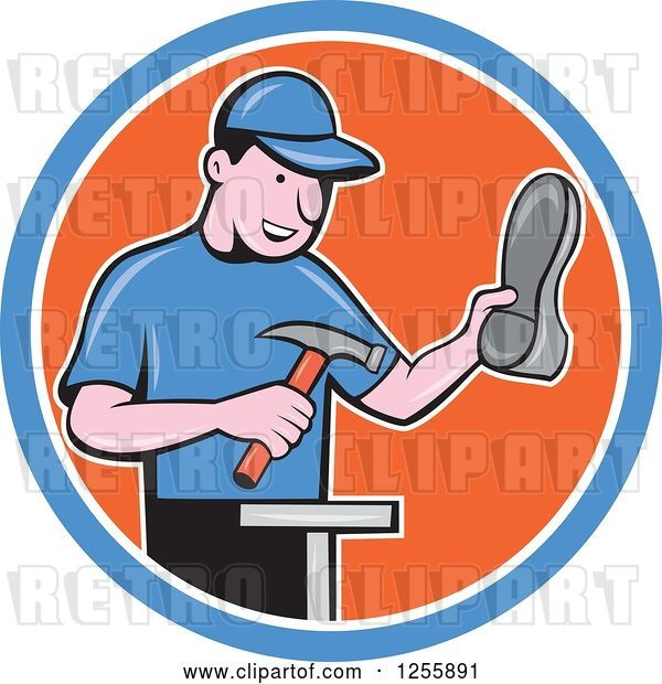 Vector Clip Art of Retro Cartoon Male Shoe Maker Cobbler Working in a Blue White and Orange Circle