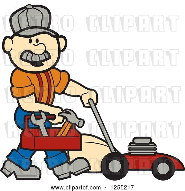 Vector Clip Art of Retro Cartoon Male White Handyman with a Tool Box and Lawn Mower