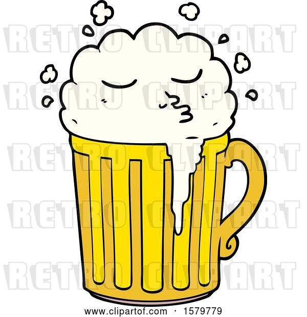 Vector Clip Art of Retro Cartoon Mug of Beer