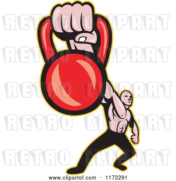 Vector Clip Art of Retro Cartoon Muscular Guy Holding out a Kettlebell