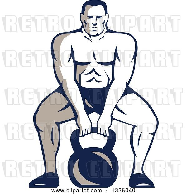 Vector Clip Art of Retro Cartoon Muscular Male Bodybuilder Athlete Squatting with a Kettlebell