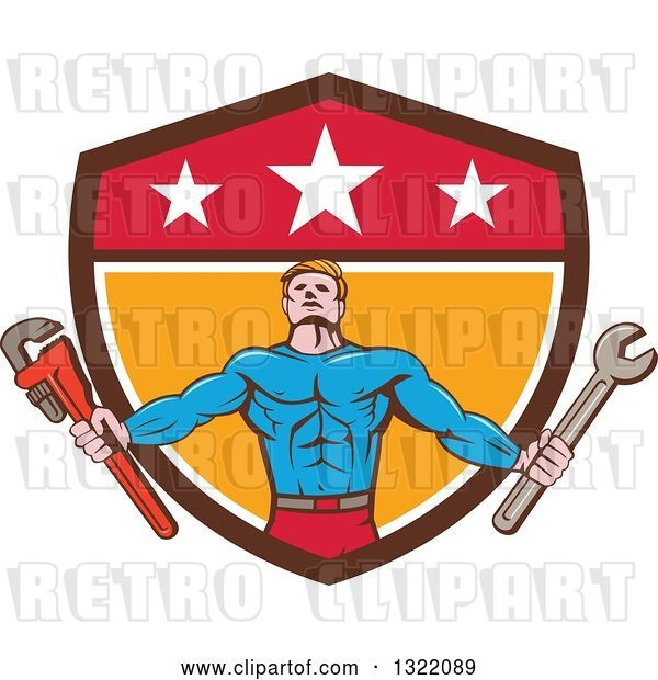 Vector Clip Art of Retro Cartoon Muscular Male Super Hero Holding Spanner and Monkey Wrenches and Emerging from a Shield