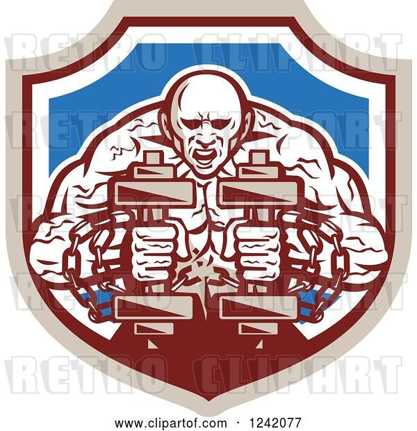 Vector Clip Art of Retro Cartoon Muscular Strongman Working out with Chains and Dumbbells in a Shield