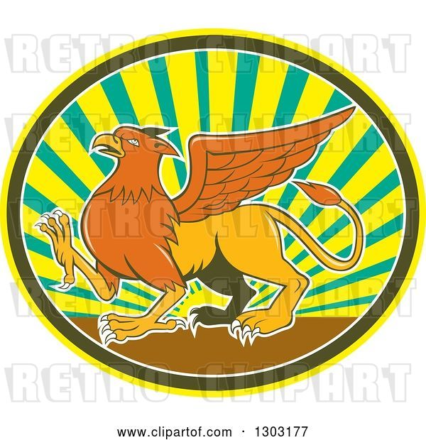 Vector Clip Art of Retro Cartoon Mythical Griffin Creature Walking in an Oval of Rays
