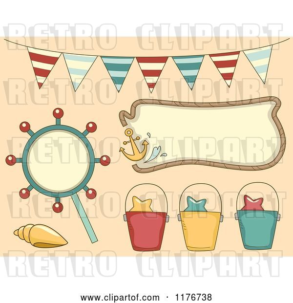 Vector Clip Art of Retro Cartoon Nautical Beach Party Design Elements