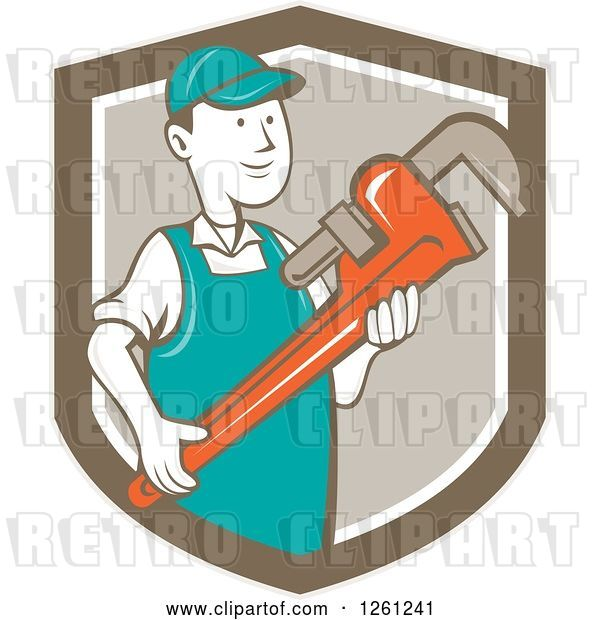 Vector Clip Art of Retro Cartoon Plumber Holding a Monkey Wrench in a Brown Shield