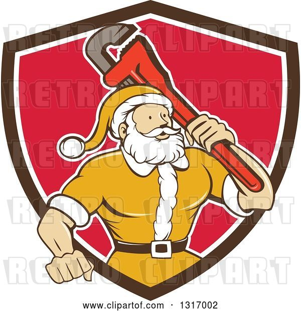 Vector Clip Art of Retro Cartoon Plumber Santa in a Yellow Suit, Holding a Monkey Wrench over His Shoulder in a Brown White and Red Shield