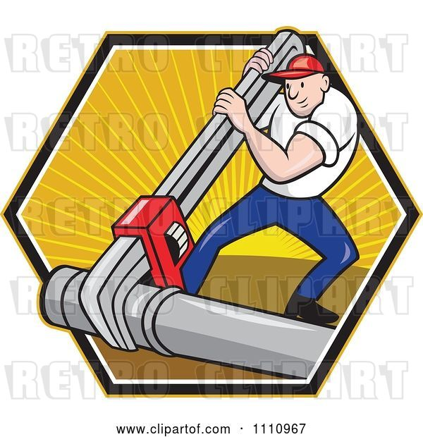 Vector Clip Art of Retro Cartoon Plumber Using a Giant Monkey Wrench on a Pipe over a Hexagon of Rays