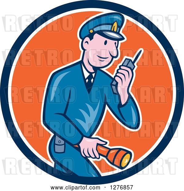 Vector Clip Art of Retro Cartoon Police Guy Talking on a Walkie Talkie and Holding a Flashlight in a Blue White and Orange Circle