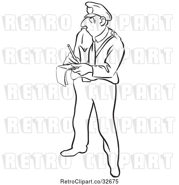 Vector Clip Art of Retro Cartoon Police Officer Writing a Ticket
