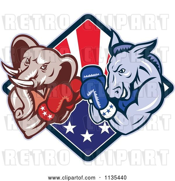 Vector Clip Art of Retro Cartoon Political Elephant and Donkey Boxing over an American Diamond