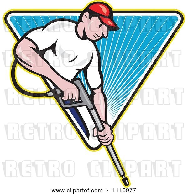 Vector Clip Art of Retro Cartoon Pressure Washer Worker over a Blue Triangle of Rays