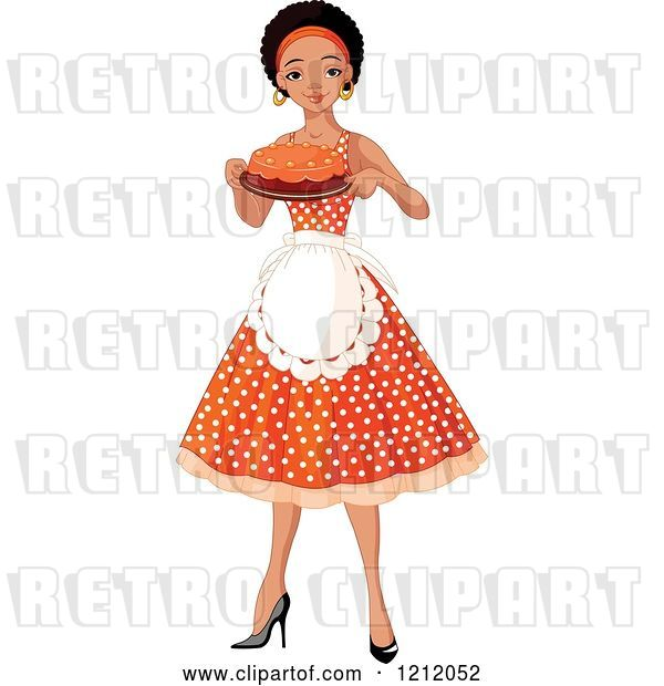 Vector Clip Art of Retro Cartoon Pretty Black Black Lady an Apron and Polka Dot Dress, Holding a Cake