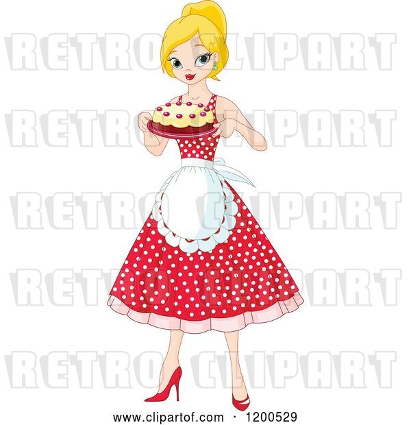 Vector Clip Art of Retro Cartoon Pretty Blond Lady an Apron and Polka Dot Dress, Holding a Cake