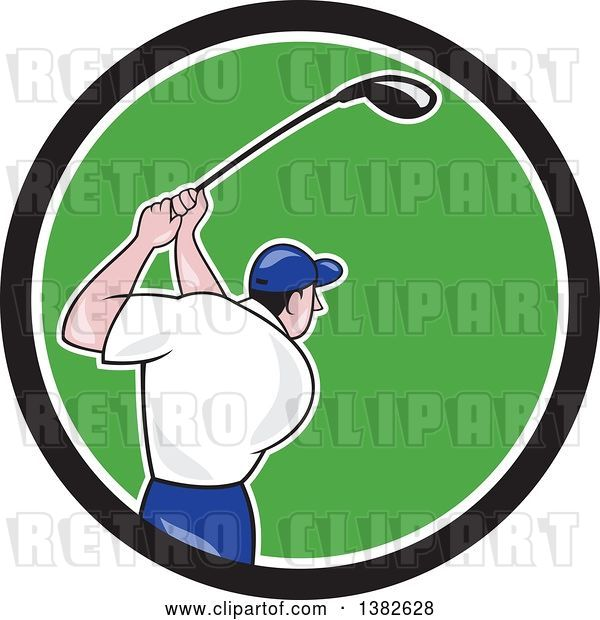Vector Clip Art of Retro Cartoon Rear View of a White Male Golfer Swinging in a Black White and Green Circle