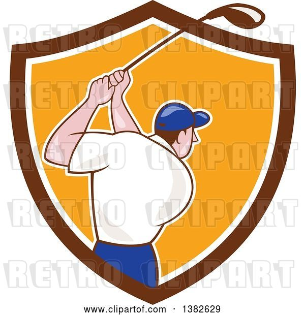 Vector Clip Art of Retro Cartoon Rear View of a White Male Golfer Swinging in a Brown White and Orange Shield