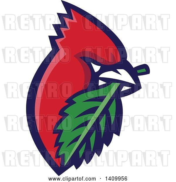 Vector Clip Art of Retro Cartoon Red Cardinal Bird with a Leaf in His Mouth
