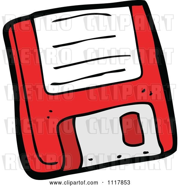 Vector Clip Art of Retro Cartoon Red Computer Floppy Disk ...