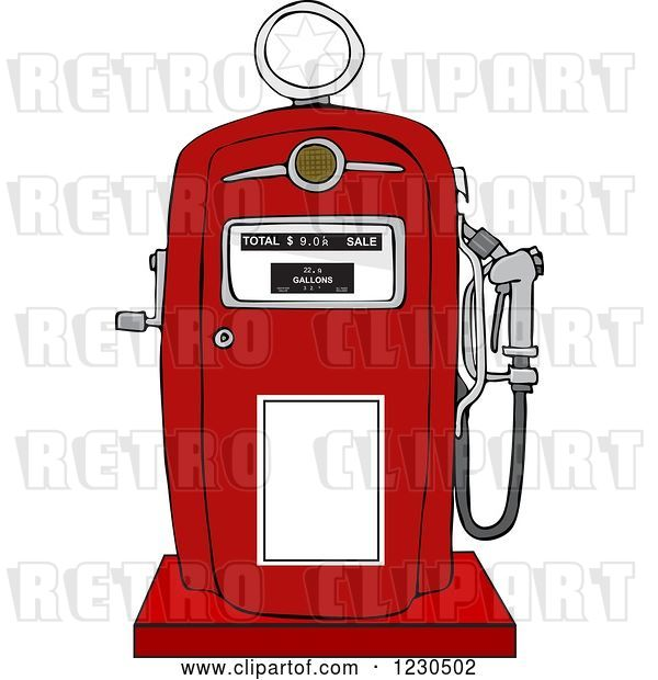 Vector Clip Art of Retro Cartoon Red Gas Pump