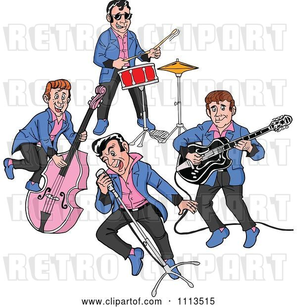 Vector Clip Art of Retro Cartoon Rockabilly Music Band Singing and Playing the Bass Drums and Guitar